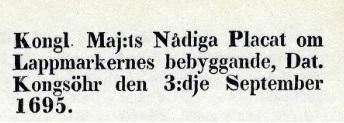 Lappmarksplakatet från 1695