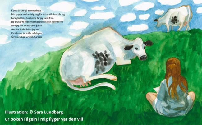 Fågeln i mig flyger vart den vill – utställning med Sara Lundbergs illustrationer